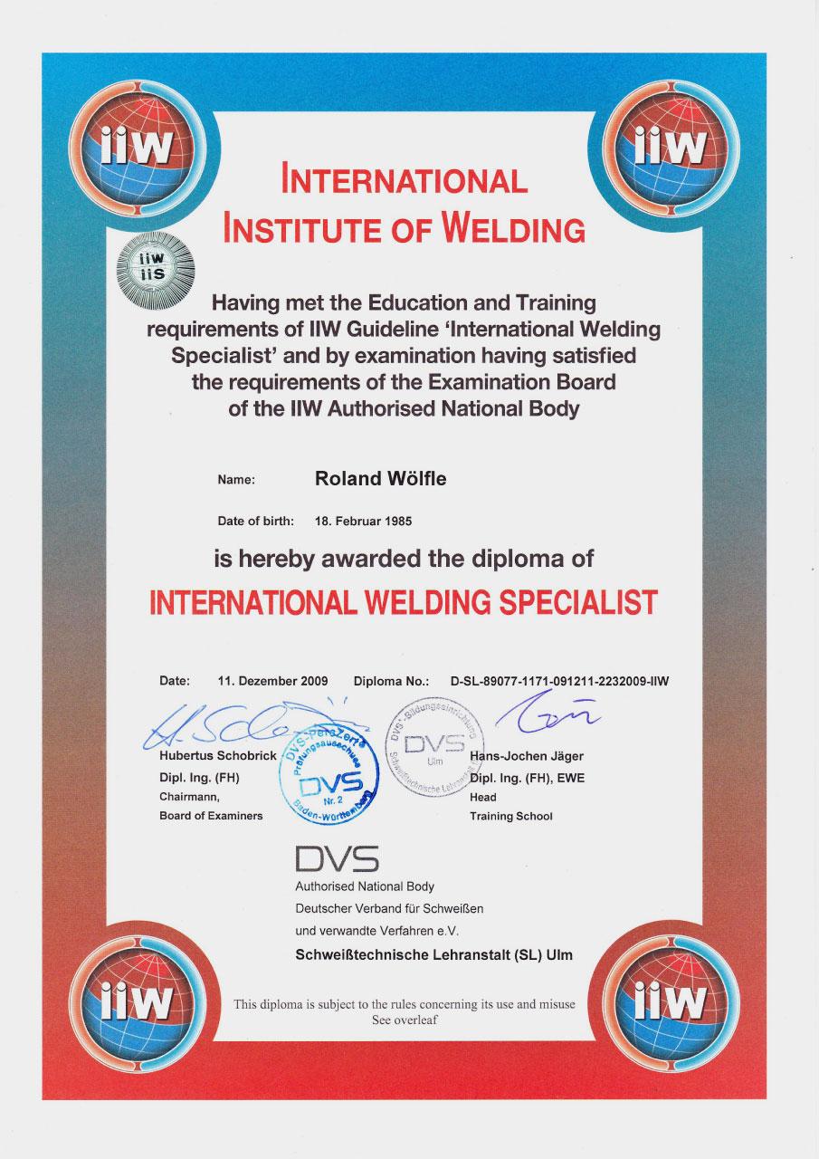 Zertifikat Schweißfachmann